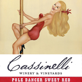 Label for Cassinelli Winery & Vineyards, with retro pole dancer illustration by Bonnie Gloris.